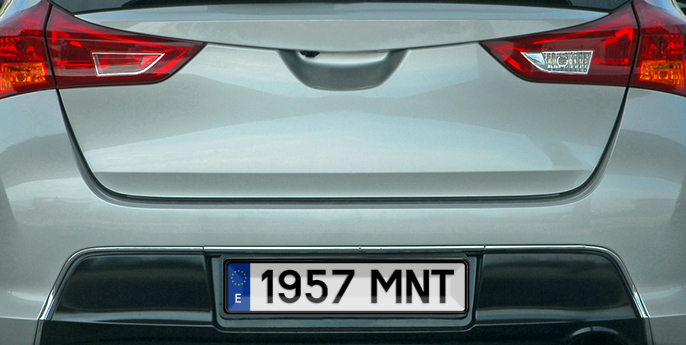 Spanish number plate on car